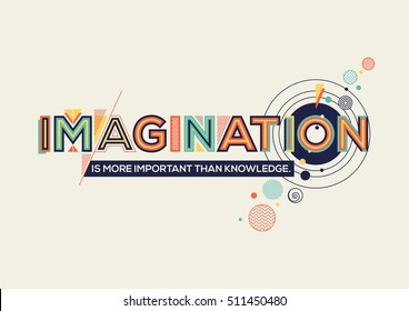 Modern typography design in Geometrical style. Creative design for your wall graphics, typographic poster, advertisement, web design and office space graphics. Imagination concept in retro style.