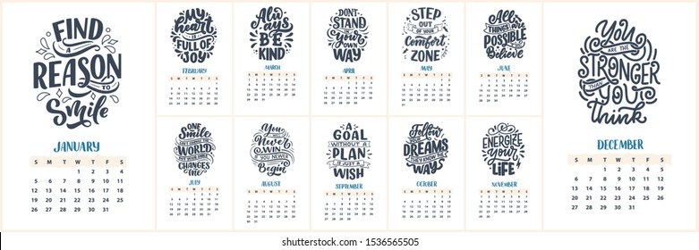 Modern typography lettering compositions. 2020 calendar with funny motivation quotes. Hand drawn colorful illustrations. Trendy slogan, vector graphic