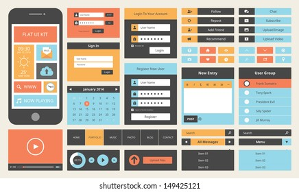 Modern UI flat design vector kit in trendy color with simple mobile phone, buttons, forms, windows and other interface elements.  Isolated on white background.