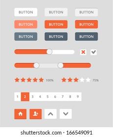 Modern UI flat design vector buttons