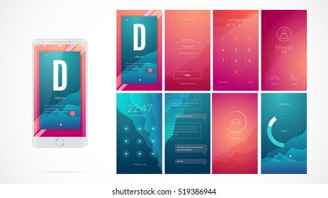 Modern UI, GUI screen vector design for mobile app with UX and flat web icons. Wireframe kit for Lock Screen, Login page, Enter Passcode, User call, Application Loading, Text Messages and Stats Chart.