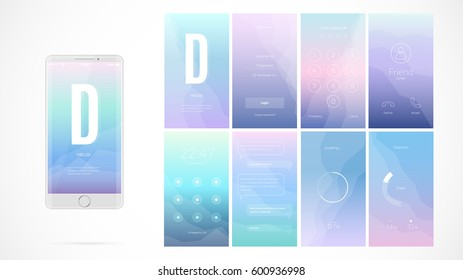Modern UI GUI Screen Vector Design For Mobile App With UX And Flat Web Icons