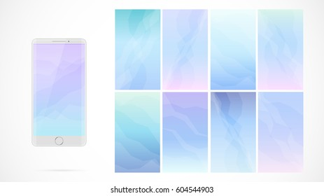 Modern UI GUI Screen Vector Design For Mobile App Blurred Soft Color Gradient Vertical