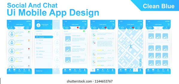 Modern Ui mobile app design of social and chat user interface, hamburger menu, map, notification, home screen, favorite, profile. Clean Blue Theme. Vector EPS10 template.