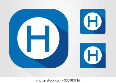 Modern UI mobile app icon symbols with letter H.