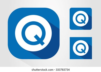 Modern UI mobile app icon symbols with letter Q.