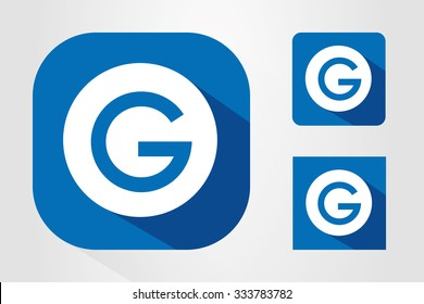 Modern UI mobile app icon symbols with letter G.