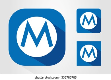 Modern UI mobile app icon symbols with letter M.