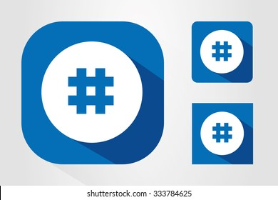 Modern UI mobile app icon symbols with hashtag symbol.