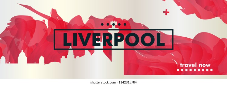 Modern UK United Kingdom Liverpool skyline abstract gradient website banner art. Travel guide cover city vector illustration