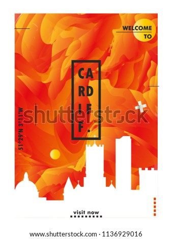 Modern UK United Kingdom Wales Cardiff Skyline Abstract Gradient Poster Art Travel Guide Cover City