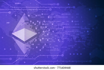 Modern Ultra HD Crypto Currency Ethereum Global Network Technology Banner Illustration Background