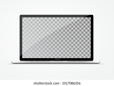 Modern ultra thin laptop. Computer vector mockup isolated on white.  Empty screen. Place for your  information.