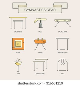 Modern and unique Artistic gymnastics icons and symbols collection made in modern linear vector style. Athlete or gymnast icon collection. Unique and modern set isolated on background.