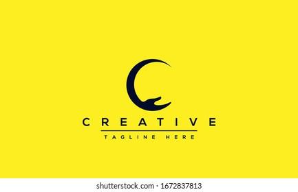 Modern unique creative letter C logo design, Minimal line C initial based vector icon.