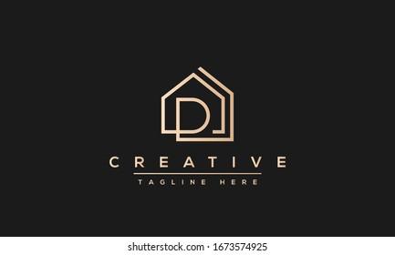 Modern unique creative letter D logo design, Minimal line D initial based vector icon.