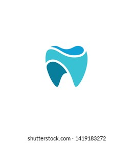 Modern Unique Tooth Dental Health Icon Logo with Blue Color for Pediatric Dentistry Family Dentist and High End Look