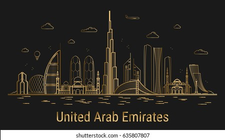 Modern United Arab Emirates line art, golden architecture vector illustration, skyline, all famous buildings.