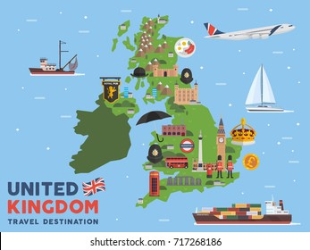Modern United Kingdom Famous Tourist Destination Map Illustration