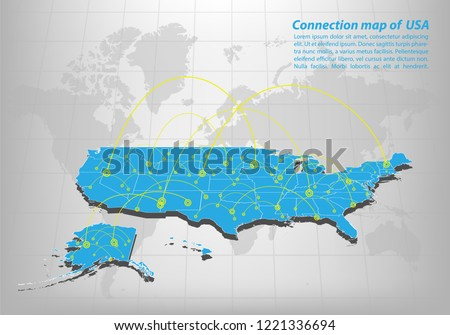 Modern Us Map.Modern United State America Map Connections Stock Vector Royalty