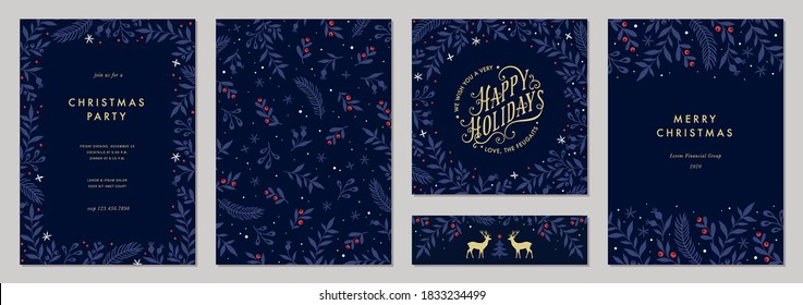 Modern universal artistic templates. Merry Christmas Corporate Holiday cards and invitations. Floral frames and backgrounds design. Vector illustration. - Shutterstock ID 1833234499