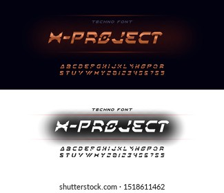 Modern universal set of two fonts and alphabets, chrome plated copper stencil font. Uppercase letters and numbers for multi-purpose use.