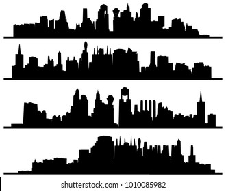 Modern Urban City Of Skyscrapers Silhouette Vector 48. Landscape View.