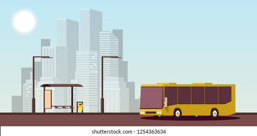 Modern Urban Concept of Public Transport. Yellow Public Bus on Bus Station against the Backdrop of Modern City. Vector 2D Illustration.