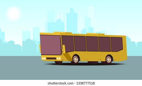 Modern Urban Concept of Public Transport. Comic Cartoon Styled Yellow Public Bus against the Backdrop of Modern City. Blue Landscape Background. Vector 2D Illustration.
