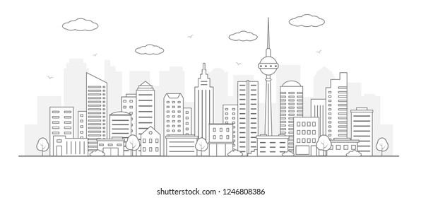 Modern urban landscape. City life illustration with house facades and other urban details. Line art. Vector.