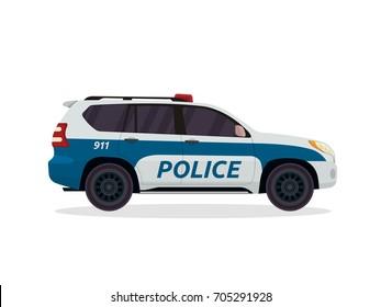 Modern Urban Police Patrol Vehicle Illustration Logo