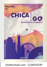 Modern USA United States of America Chicago skyline abstract gradient poster art. Travel guide cover city vector illustration