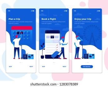 Modern user interface UX, UI screen template for mobile smart phone. Onboarding Screens User Interface Kit. Travel app. Vector Illustration
