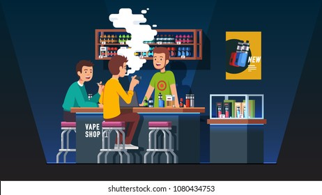 Modern vape shop bar barman serving smokers bottles of liquid vaping juices from shelves. Vapers sitting at store counter smoking electronic vaporizer cigarettes. Flat vector illustration isolated