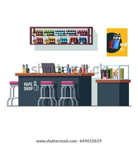 Modern Vape Shop Interior Design Counter Stock Vector Royalty Free