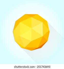 Modern vector 3D geometric sun