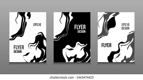 Modern vector abstract design of black and white liquid paints. Splash trends paints. For design presentations, print, flyer, business cards, invitations, calendars, sites, packaging and covers
