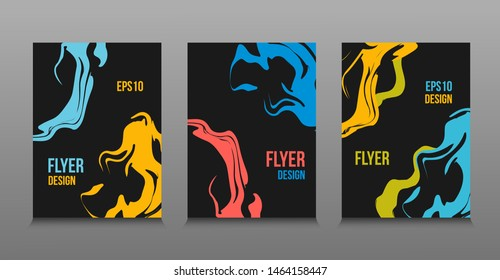 Modern vector abstract design of colored bright liquid paints. Splash trends paints. For design presentations, print, flyer, business cards, invitations, calendars, sites, packaging and covers