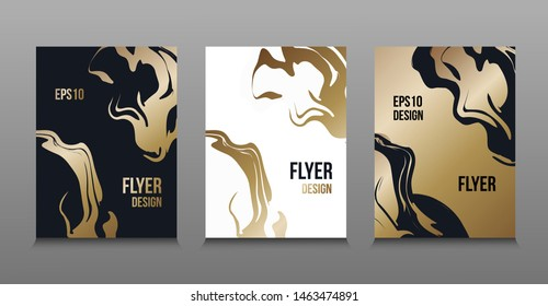 Modern vector abstract design of golden liquid paints. Splash trends paints. For design presentations, print, flyer, business cards, invitations, calendars, sites, packaging and covers