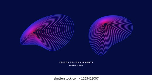 Modern vector abstract elemetnt with colored lines. Illustration suitable for design