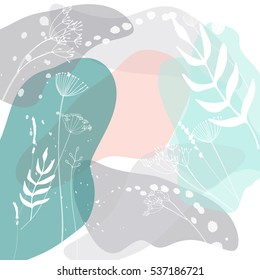 Modern vector abstract floral header. Hand drawn herbs and flowers. Creative universal background. Perfect for invitations, cards, web design.