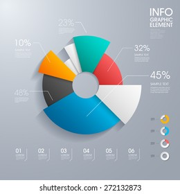 modern vector abstract pie chart infographic elements.can be used for workflow layout, diagram, number options, web design.  illustration ,EPS10