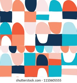 Modern vector abstract seamless geometric pattern with semicircles and square in retro scandinavian style. Pastel colors shapes on white background.