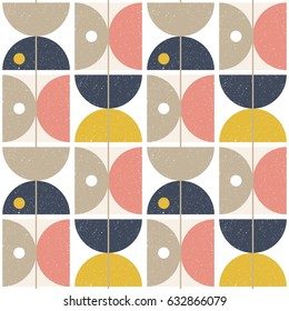 Modern vector abstract seamless geometric pattern with semicircles and circles in retro scandinavian style.Pastel pink, navy blue, beige and  yellow shapes with worn out texture on white background.