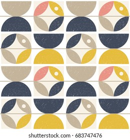 Modern vector abstract seamless geometric pattern with semicircles and circles in retro scandinavian style.Pastel colors shapes with worn out texture on white background.