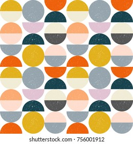 Modern vector abstract seamless geometric pattern with semicircles and circles in retro scandinavian style. Pastel colors shapes with worn out texture on white background.