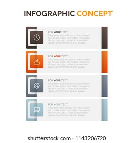 Modern vector abstract step lable infographic elements. Can be used for workflow layout, diagram, number options, icons for 4 options, web design. illustration ,EPS10