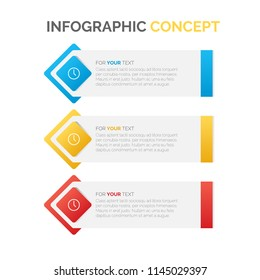 Modern vector abstract step lable infographic elements. Can be used for workflow layout, diagram, number options, icons for 3 options, web design. illustration ,EPS10