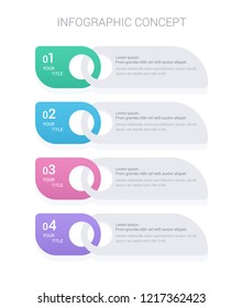 Modern vector abstract step lable infographic elements. Can be used for workflow layout, diagram, number options, icons for 4 options, web design. Modern design template ,EPS10