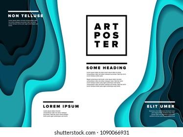 Modern vector art poster flyer template with deep blue paper cut effect